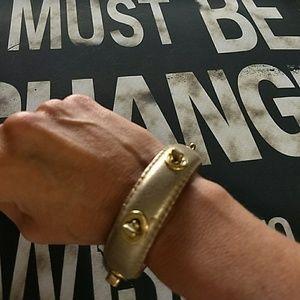 Coach Jewelry - Gold Leather Coach Bangle